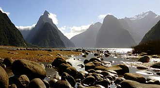 Fiordland National Park - Milford Sound: Mitre Peak, the mountain on the left, rises 1692 m above the fiord