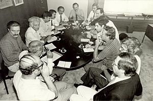 Mehmet Ali Birand - Milliyet meeting with Mehmet Ali Birand (at the end of the table)