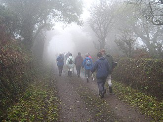 Ludgvan - A group of walkers near Lower Tremenheere