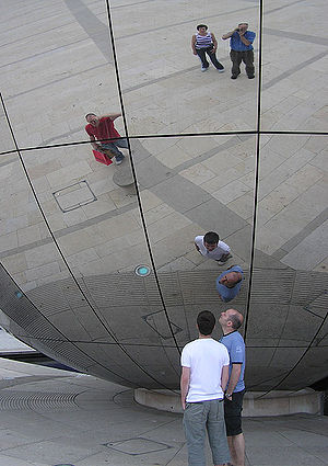 Curved mirror - Reflections in a spherical convex mirror. The photographer is seen reflected at top right