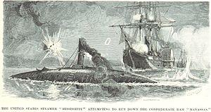 USS Mississippi (1841) - Mississippi attempts to ram Manassas
