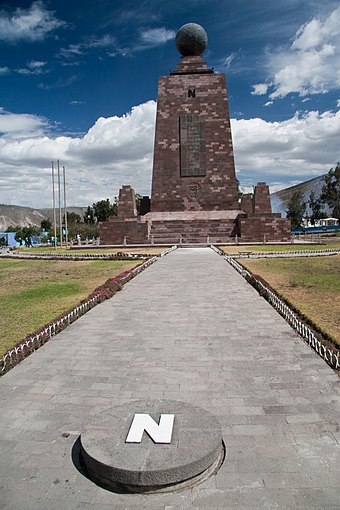 The monument at the equator (La Mitad del Mundo) Mitad del Mundo, Ecuador 5.jpg