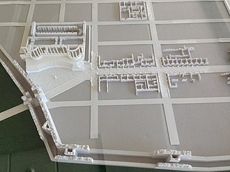 "Stara Zagora - Model of south west quarter showing double walls and Antique forum with ""auditorium"""