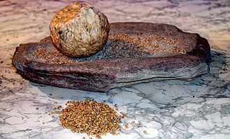 Neolithic Revolution - Neolithic grindstone or quern for processing grain