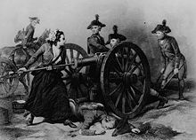 Black and white print shows a woman using a rammer to swab out a cannon as three men in the gun crew and a man on horseback look on.