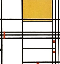 Piet Mondrian : Composition 9 with Black, White, Yellow and Red