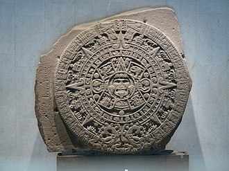 Aztec calendar - The Aztec calendar stone, also called the Sun Stone, on display at the National Museum of Anthropology, Mexico City