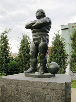 Louis Cyr - Monument to Louis Cyr by Robert Pelletier in Place des Hommes-Forts in Montreal