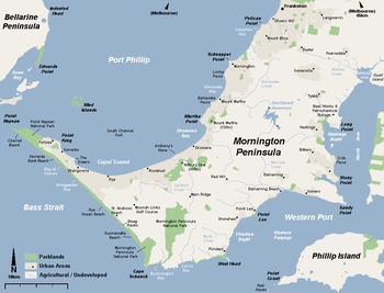 Map Of Mornington Peninsula Mornington Peninsula   Wikipedia