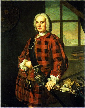 Scottish trade in the early modern era - John Campbell of the Bank, cashier of the Royal Bank of Scotland, c. 1749. A banknote can be seen on the table.