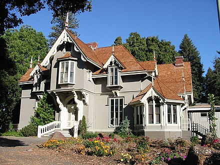 J. Mora Moss House in Mosswood Park was built in 1864 by San Francisco businessman Joseph Moravia Moss in the Carpenter Gothic style. The building houses Parks and Recreation offices and storage. Moss mansion.jpg