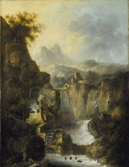 Mountainous Landscape with a Waterfall