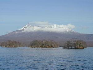 Mori, Hokkaido - Mount Komagatake viewed from Ōnuma, Mori