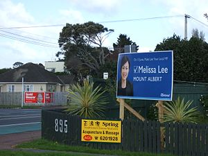 New Zealand House of Representatives - Election billboards in Mount Albert, 2009.