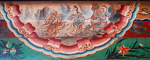 Mu Guiying - A 19th century mural painting at the Long Corridor of Summer Palace, Beijing, depicting Mu Guiying with a medicine man.