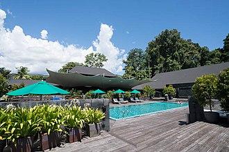 Gunung Mulu National Park - Swimming pool at Royal Mulu Resort.