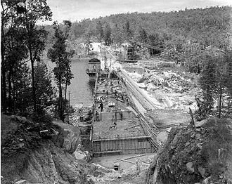Goldfields Water Supply Scheme - Mundaring Weir nearing completion in about 1901