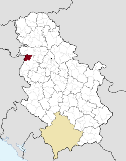 Location of the town of Bogatić within Serbia