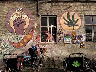 Cannabis in Denmark - Pro-cannabis and anti-heroin mural in Christiania
