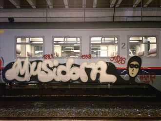 Musidora - A graffiti mural on a rapid-transit in tribute to Musidora.