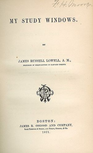 English: Title page of My Study Windows by Jam...