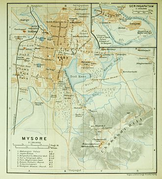 Mysore - Map of Mysore and nearby Srirangapatna, ca 1914