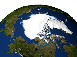 Imagen de la extensión del casquete polar tomada por la NASA en 2005