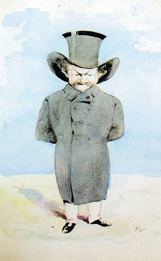 Alexandru Bogdan-Pitești - Nicolae Petrescu-Găină's caricature of C. I. Stăncescu, original watercolor