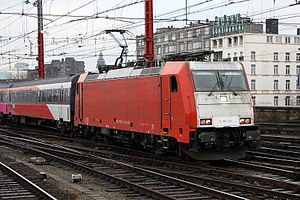 NS International - NS Hispeed Traxx F140 MS locomotive E186 120 arrives at Brussels-South railway station.