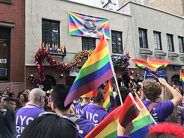 NYC Pride Parade 2018 - Pride Flag in Front of Stonewall.jpg