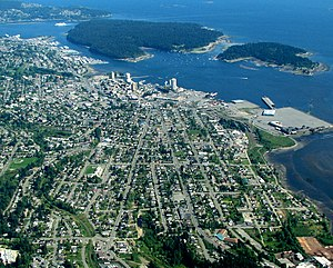 Nanaimo - Aerial photo of downtown and central Nanaimo and adjacent islands.