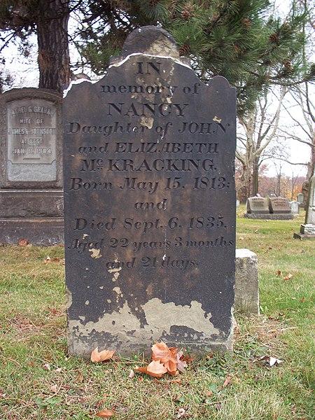 File:Nancy McKracking tombstone, Beulah Presbyterian Church Cemetery.jpg