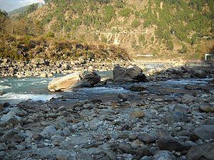 Nandaprayag - The Nandakini River (foreground) meets the Alaknanda River (background) in Nandaprayag