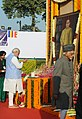 Narendra Modi paying floral tributes to Bodhisatva Babasaheb Dr. B.R. Ambedkar on his 59th Mahaparinirvan Diwas, in New Delhi on December 06, 2014. The Vice President, Shri Mohd. Hamid Ansari is also seen.jpg