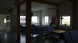 Narsaq Heliport - Image: Narsaq heliport departure lounge