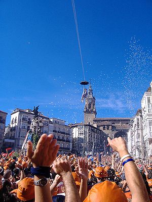Virgen Blanca Festivities - The popular Celedon's Descent.