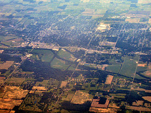 New Castle, Indiana - New Castle from the air, looking east.