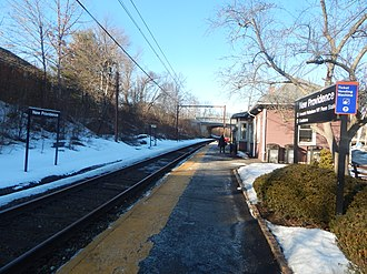 New Providence station - The New Providence station in March 2015. The bridge for County Route 512 is in the distance.
