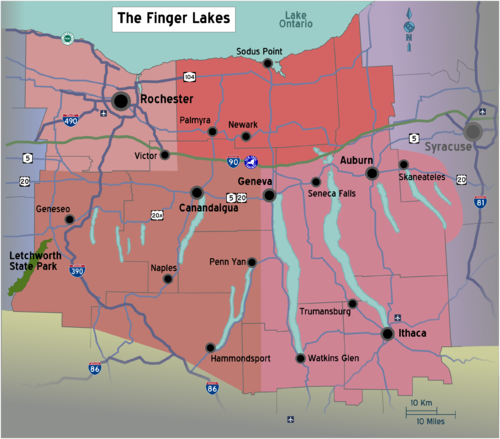 Finger lakes travel guide at wikivoyage new york finger lakes region map with road shieldsg sciox Images