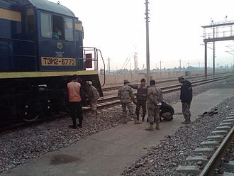 Rail transport in Afghanistan - Members of the Afghan Border Police (ABP) search a locomotive near the Hairatan border crossing point in Balkh Province of Afghanistan.