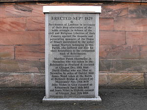 Newmilns - Covenanters memorial in the grounds of Loudoun Church.