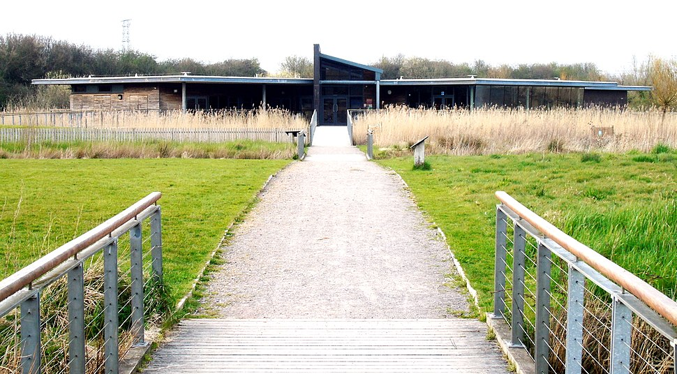 Newport Wetlands RSPB Reserve Visitor Centre As Seen From Ridge and Furrow Landscape