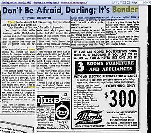 Albert K. Bender - Image: News Paper Article