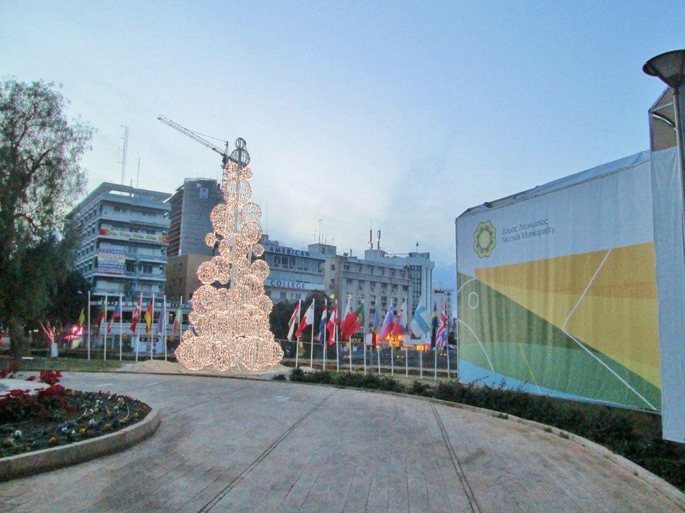 Nicosia City Hall Square in Christmas Nicosia Republic of Cyprus