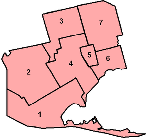 Norfolk County municipal election, 2000 - Map of the Wards in Norfolk County