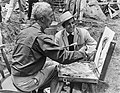 Norman Rockwell and Mike Connors (1966 Stagecoach film still).jpg