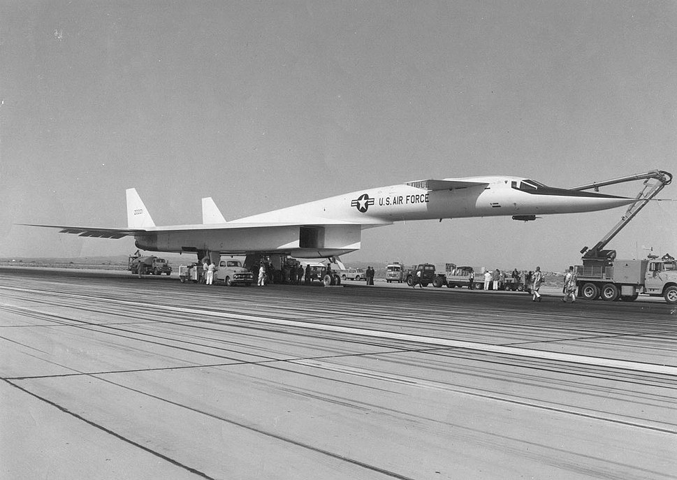 North American XB-70A Valkyrie on the taxiway with a cherry picker. Photo taken Sept 21 1964, the day of the first flight 061122-F-1234P-017