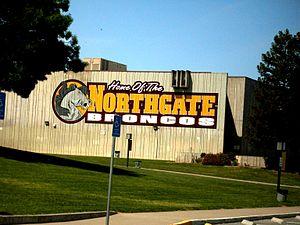 Northgate High School (Walnut Creek, California) - The Bronco mural on the Gymnasium