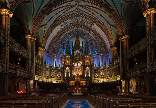 The interior of Notre-Dame Basilica in Montreal, Quebec, Canada. Photo by DAVID ILIFF.