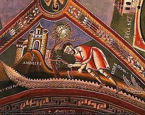 Novalesa Abbey - Life of S. Eldrado, abbot. Medieval fresco in Eldrado's chapel
